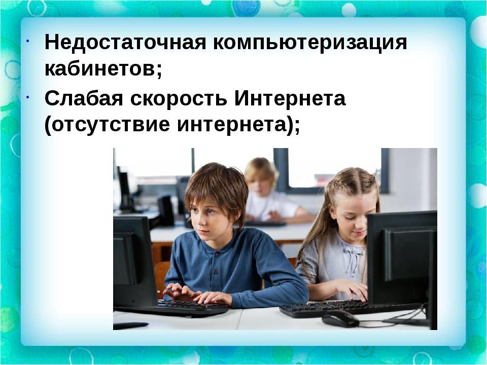 Недостаточная компьютеризация кабинетов; Слабая скорость Интернета (отсутстви...