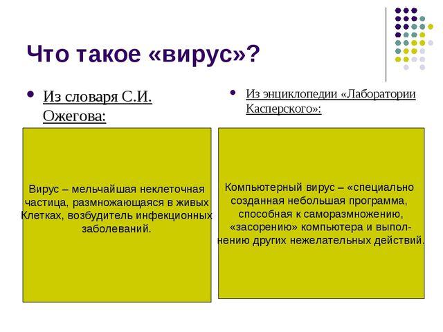 Что такое «вирус»? Из словаря С.И. Ожегова: Из энциклопедии «Лаборатории Касп...
