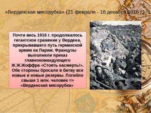 «Верденская мясорубка» (21 февраля – 18 декабря 1916 г.) Почти весь 1916 г. п