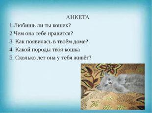 АНКЕТА 1.Любишь ли ты кошек? 2 Чем она тебе нравится? 3. Как появилась в твоё