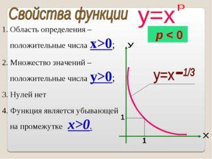 Область определения – положительные числа x>0; 2. Множество значений – положи