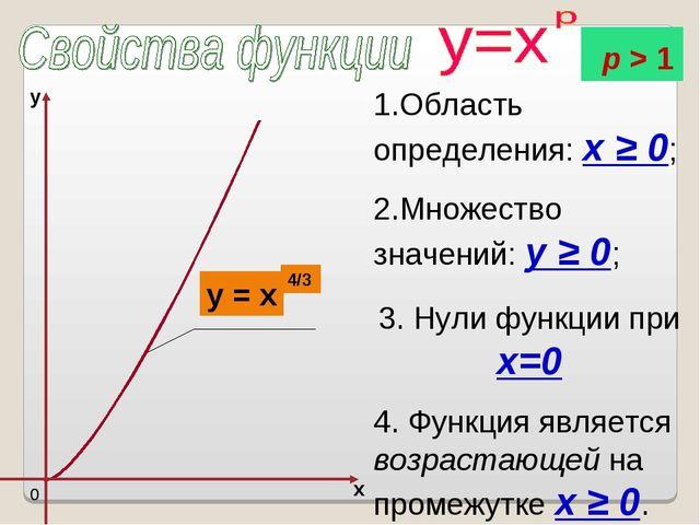 1.Область определения: x ≥ 0; 2.Множество значений: y ≥ 0; 3. Нули функции пр...