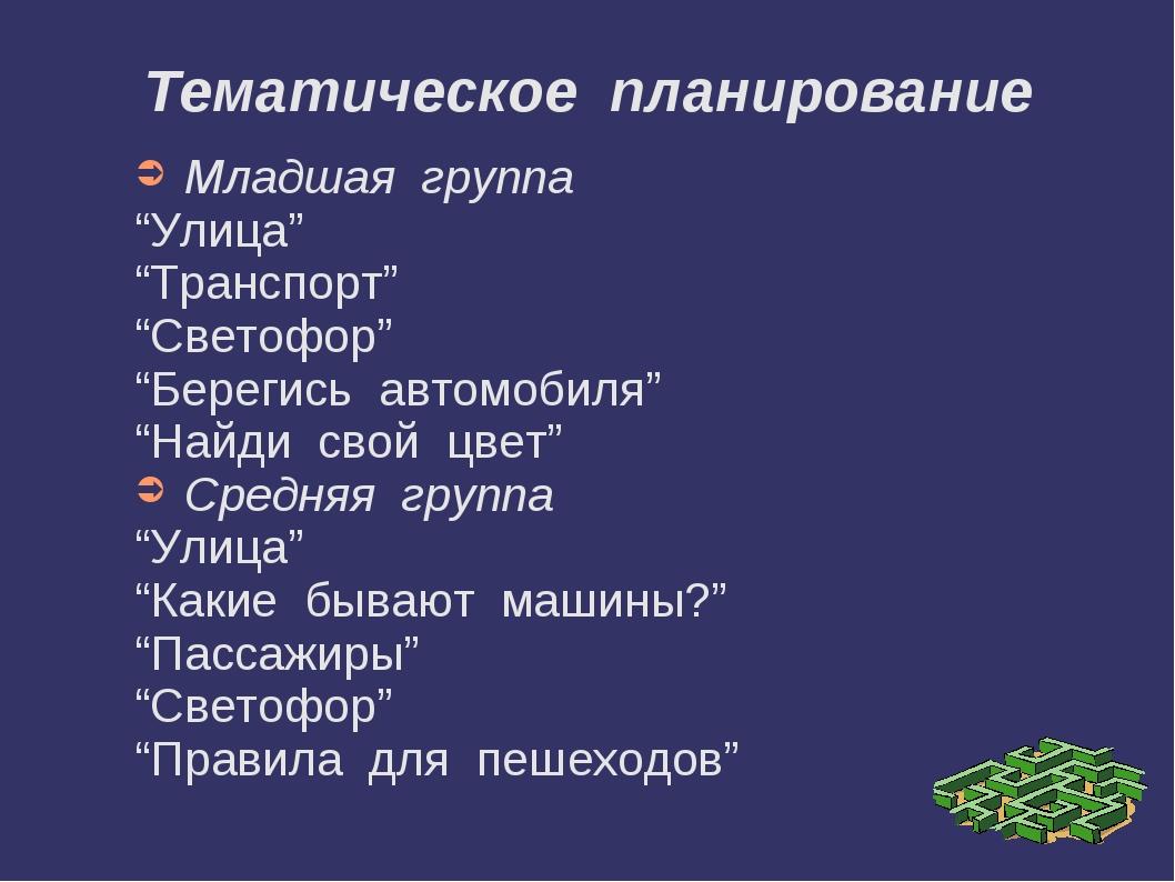 """Тематическое планирование Младшая группа """"Улица"""" """"Транспорт"""" """"Светофор"""" """"Бере..."""