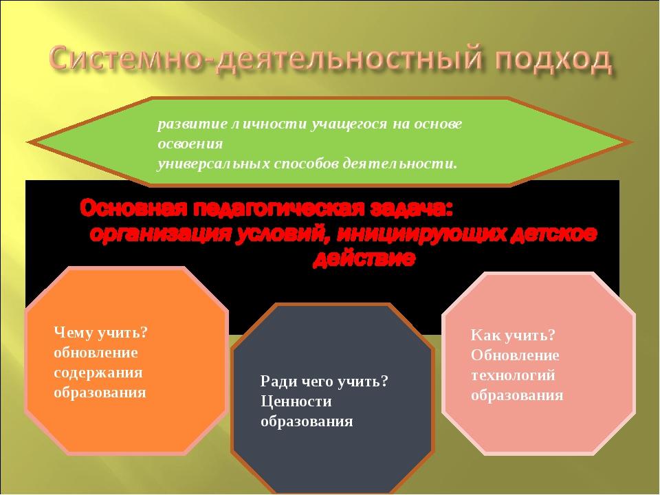 развитие личности учащегося на основе освоения универсальных способов деятель...