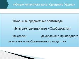 «Юные интеллектуалы Среднего Урала» Школьные предметные олимпиады Интеллектуа