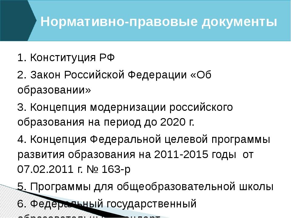 1. Конституция РФ 2. Закон Российской Федерации «Об образовании» 3. Концепция...