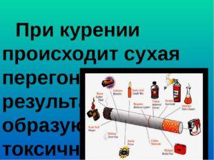 При курении происходит сухая перегонка табака, в результате образуются токси