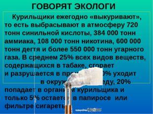 ГОВОРЯТ ЭКОЛОГИ Курильщики ежегодно «выкуривают», то есть выбрасывают в атмос