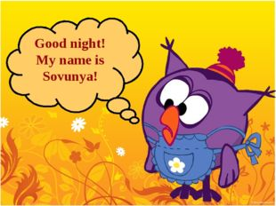 Good night! My name is Sovunya!