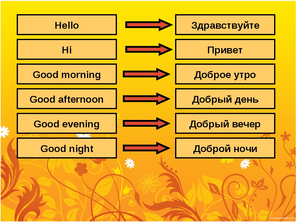 Hello Hi Good morning Good afternoon Good evening Good night Здравствуйте При...