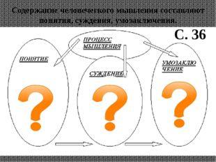 Содержание человеческого мышления составляют понятия, суждения, умозаключения