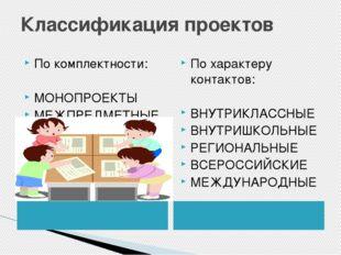 Классификация проектов По комплектности: МОНОПРОЕКТЫ МЕЖПРЕДМЕТНЫЕ По характе