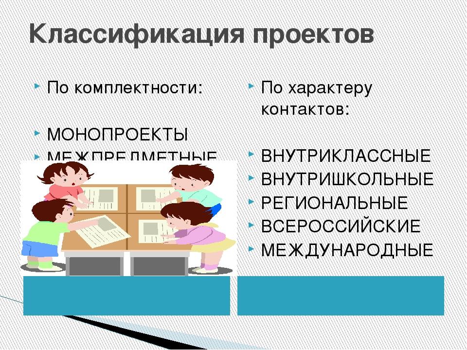 Классификация проектов По комплектности: МОНОПРОЕКТЫ МЕЖПРЕДМЕТНЫЕ По характе...