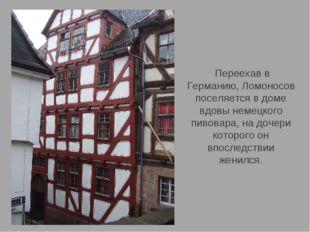 Переехав в Германию, Ломоносов поселяется в доме вдовы немецкого пивовара, н