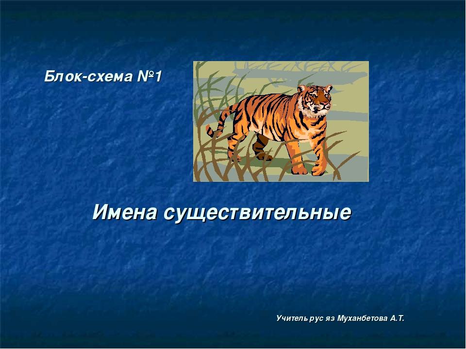 Блок-схема №1 Имена существительные Учитель рус яз Муханбетова А.Т.