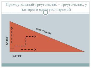 Прямоугольный треугольник – треугольник, у которого один угол прямой ГИПОТЕНУ