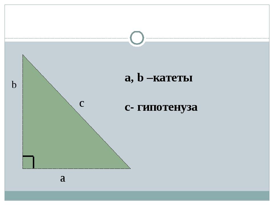a b c a, b –катеты с- гипотенуза