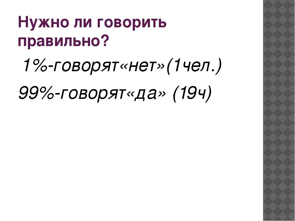 Нужно ли говорить правильно? 1%-говорят«нет»(1чел.) 99%-говорят«да» (19ч)