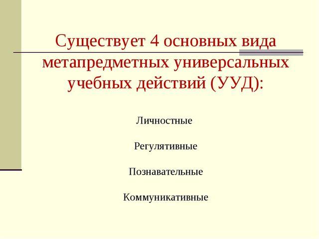 Существует 4 основных вида метапредметных универсальных учебных действий (УУД...