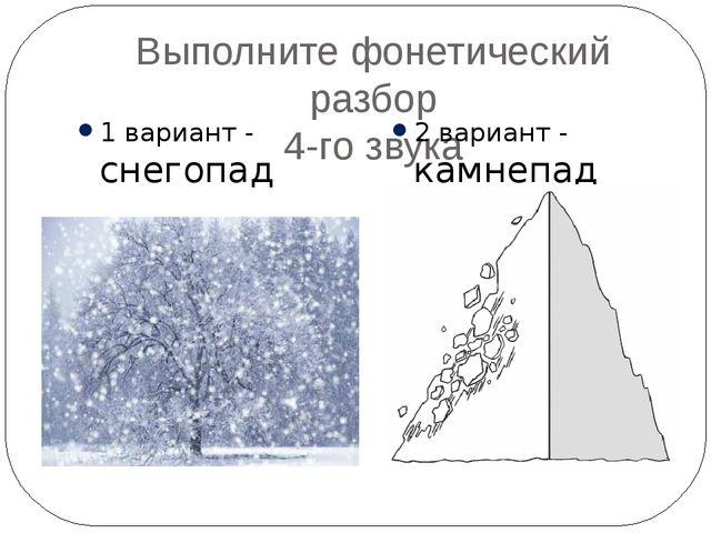 Выполните фонетический разбор 4-го звука 1 вариант - снегопад 2 вариант - кам...