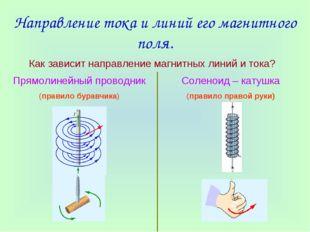 Направление тока и линий его магнитного поля. Как зависит направление магнитн