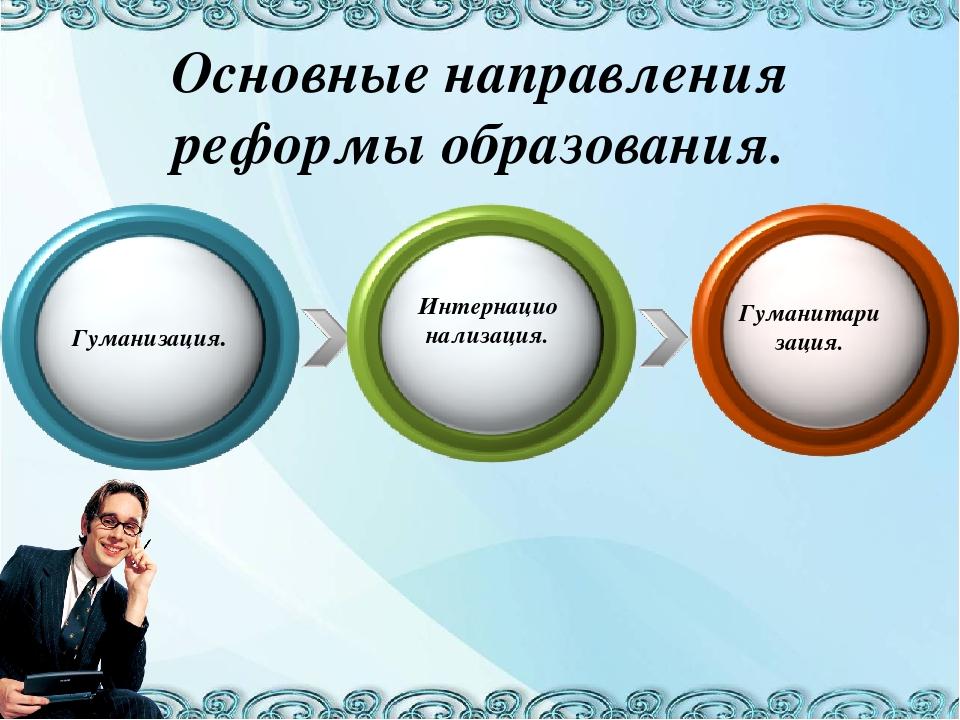 Основные направления реформы образования. Гуманизация. Интернационализация. Г...