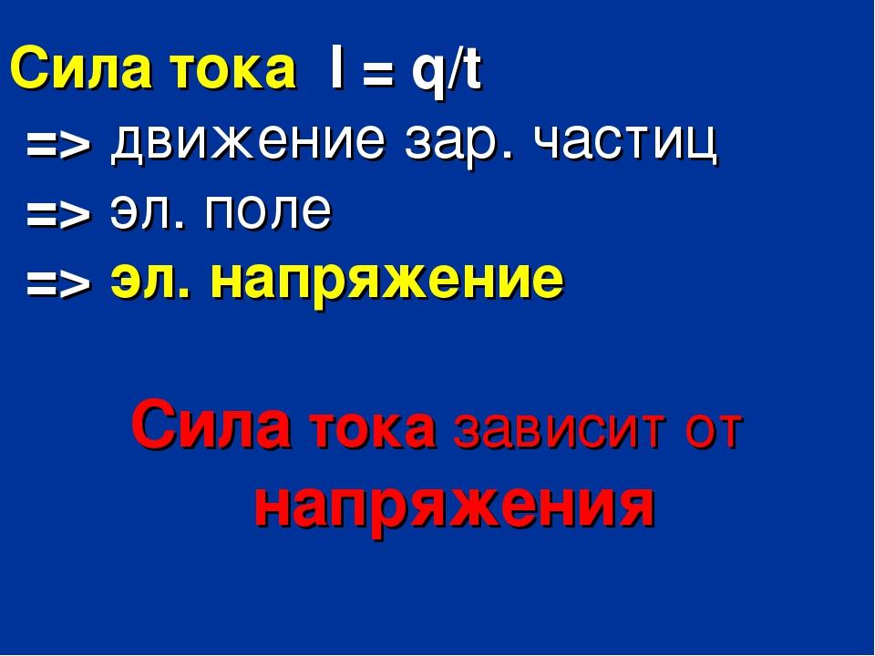 Сила тока I = q/t => движение зар. частиц => эл. поле => эл. напряжение Сила...