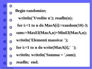 Begin randomize; writeln('Vvedite n'); readln(n); for i:=1 to n do MasA[i]:=r