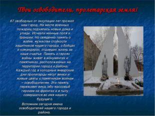 Твои освободители, пролетарская земля! 67 свободных от оккупации лет прожил н