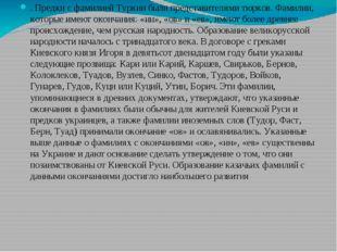 . Предки с фамилией Туркин были представителями тюрков. Фамилии, которые име