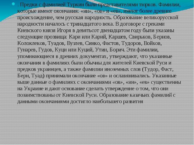 . Предки с фамилией Туркин были представителями тюрков. Фамилии, которые име...