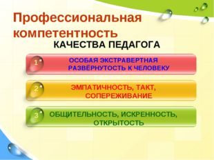 Профессиональная компетентность КАЧЕСТВА ПЕДАГОГА ОСОБАЯ ЭКСТРАВЕРТНАЯ РАЗВЁР