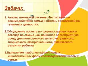 Задачи: 1. Анализ школьной системы воспитания по взаимодействию семьи и школы