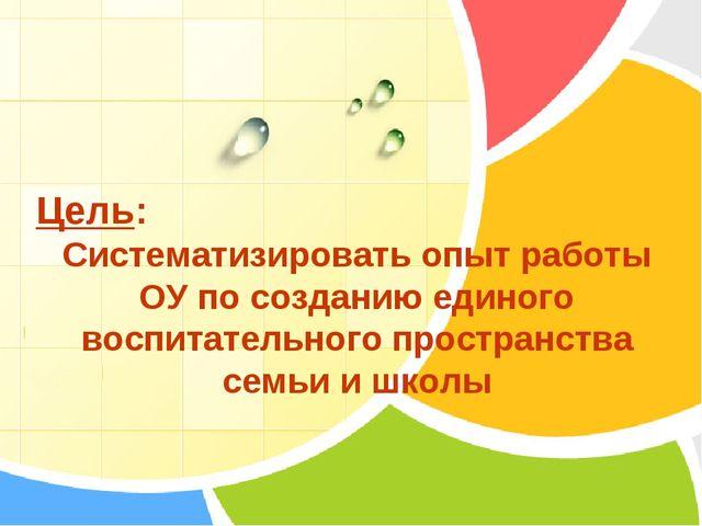 Цель: Систематизировать опыт работы ОУ по созданию единого воспитательного пр...