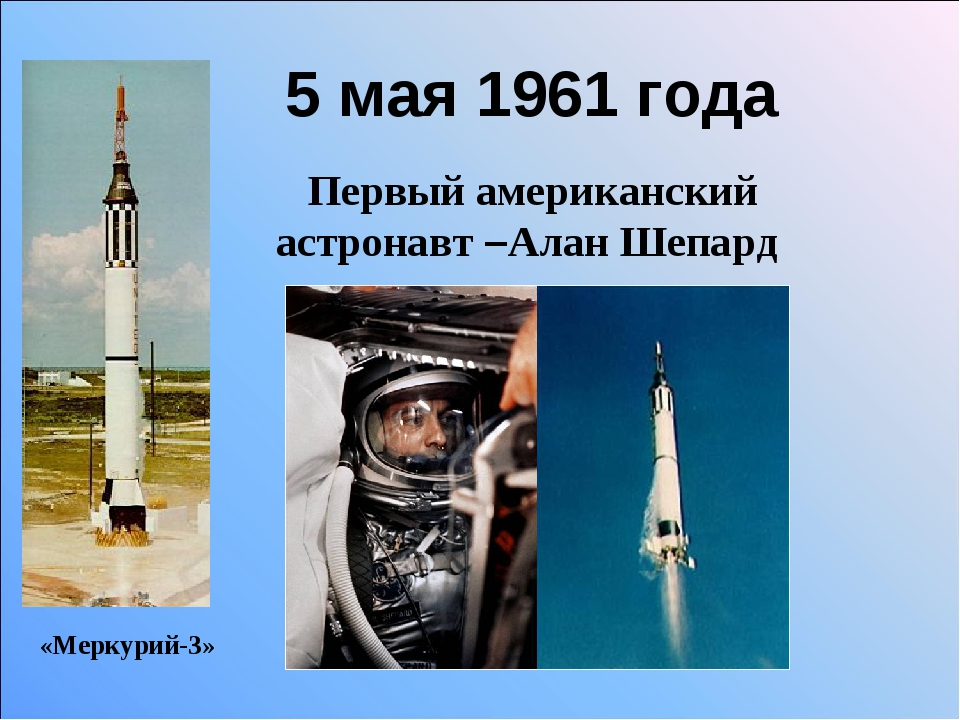 5 мая 1961 года Первый американский астронавт –Алан Шепард «Меркурий-3»