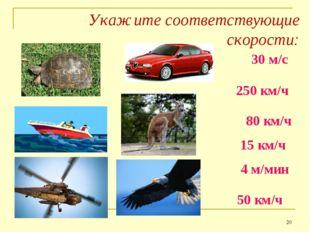 Укажите соответствующие скорости: * 30 м/с 250 км/ч 80 км/ч 15 км/ч 4 м/мин 5