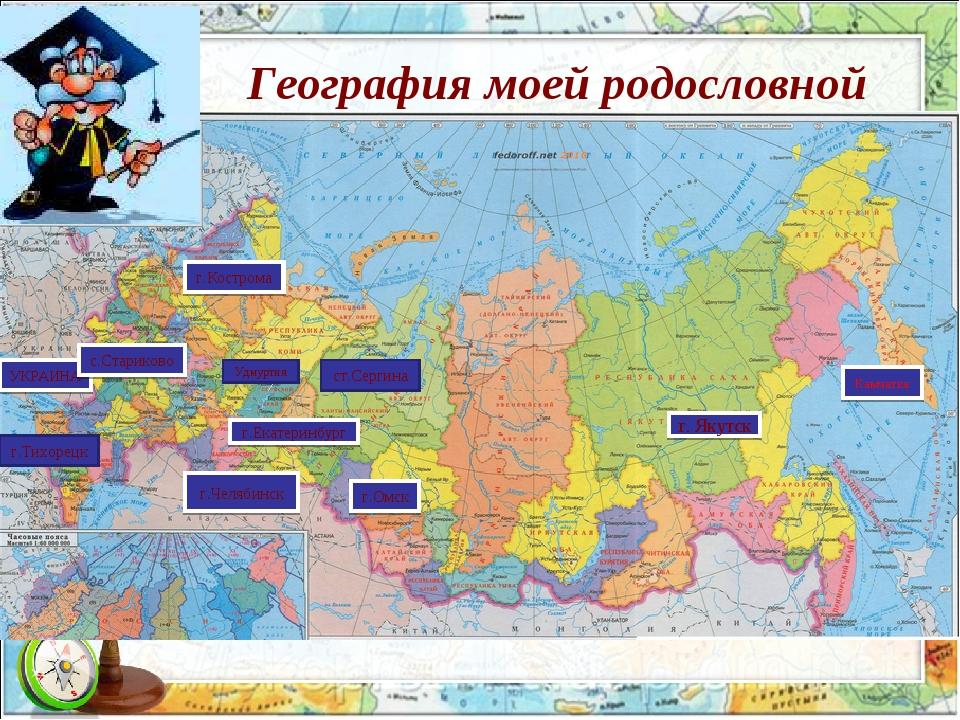 География моей родословной Камчатка Удмуртия ст.Сергина г.Челябинск г.Екатери...