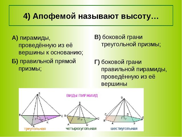 4) Апофемой называют высоту… А) пирамиды, проведённую из её вершины к основан...