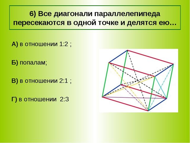 6) Все диагонали параллелепипеда пересекаются в одной точке и делятся ею… А)...