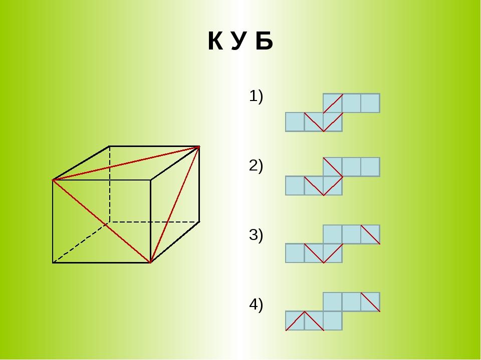 К У Б 1) 2) 3) 4)