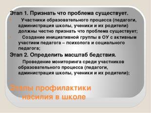 Этапы профилактики насилия в школе Этап 1. Признать что проблема существует.