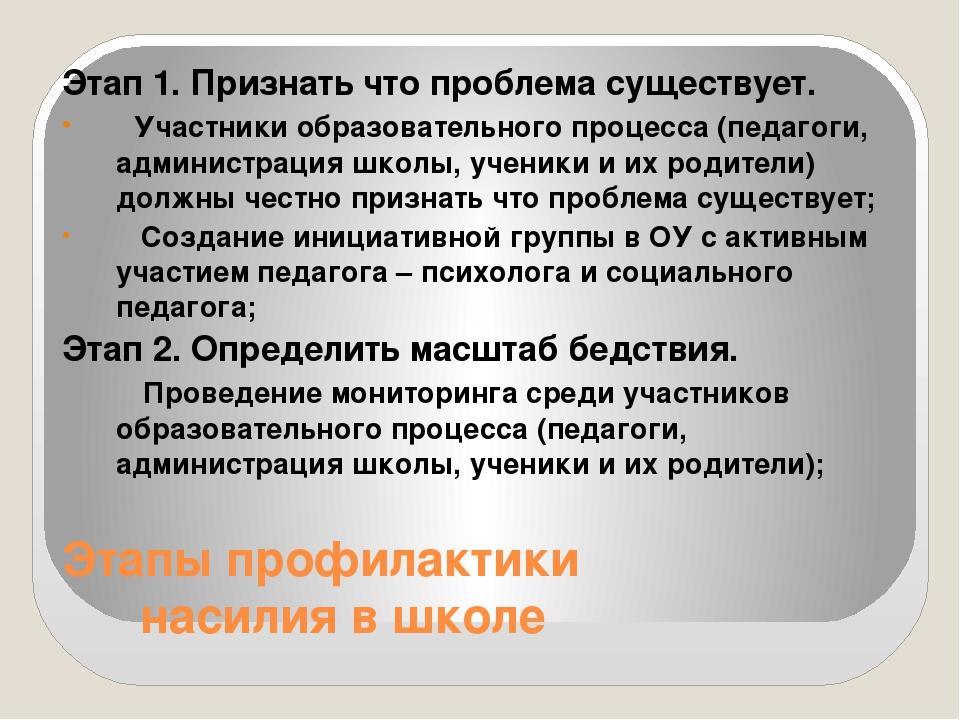 Этапы профилактики насилия в школе Этап 1. Признать что проблема существует....