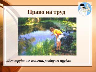 Право на труд «Без труда не вынешь рыбку из пруда»