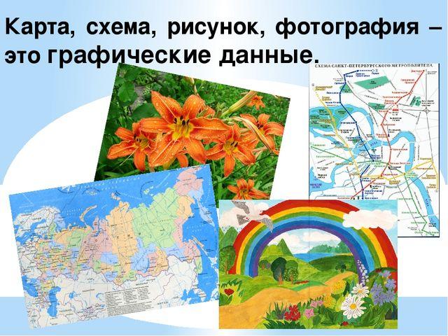 Карта, схема, рисунок, фотография – это графические данные.