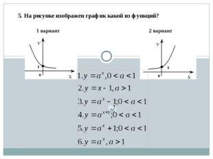 1 вариант 2 вариант 5. На рисунке изображен график какой из функций?