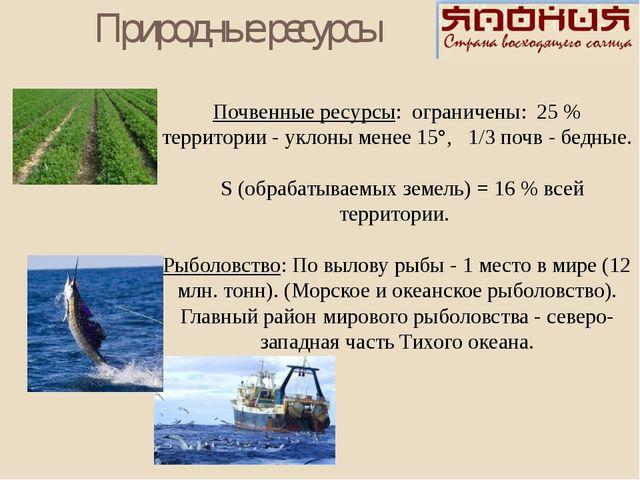 Почвенные ресурсы: ограничены: 25 % территории - уклоны менее 15°, 1/3 почв -...