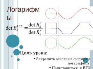 Логарифмы Цель урока: Закрепить основные формулы логарифмов Подготовиться к ЕГЭ