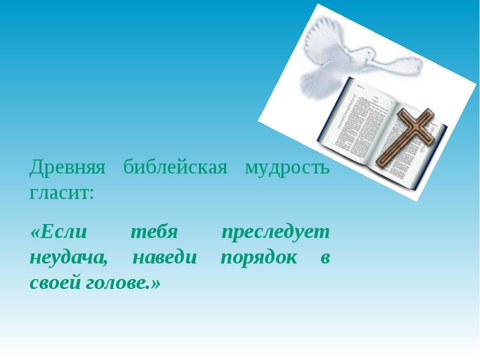 Древняя библейская мудрость гласит: «Если тебя преследует неудача, наведи пор...