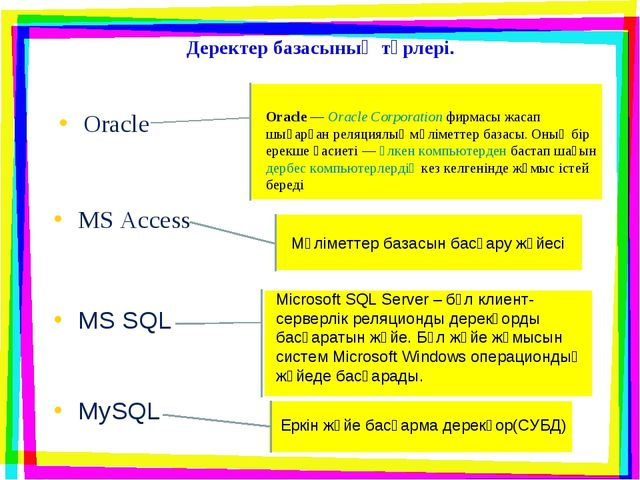 Деректер базасының түрлері. Oracle MS Access Oracle—Oracle Corporationфирм...