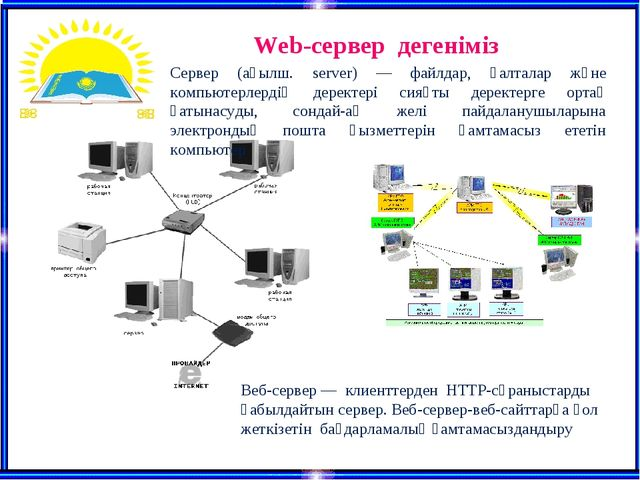Web-сервер дегеніміз Сервер (ағылш. server) — файлдар, қалталар және компьюте...